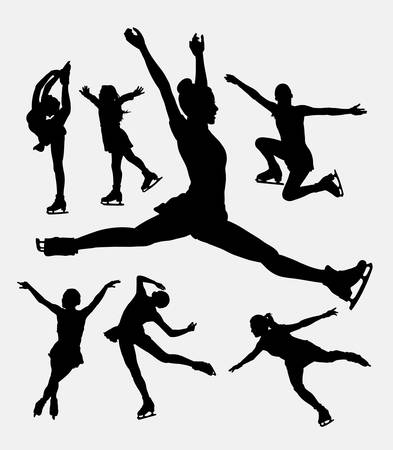 pack ice: Ice skating, female sport playing silhouette. Good use for symbol,  , web icon, mascot, or any design you want. Easy to use.