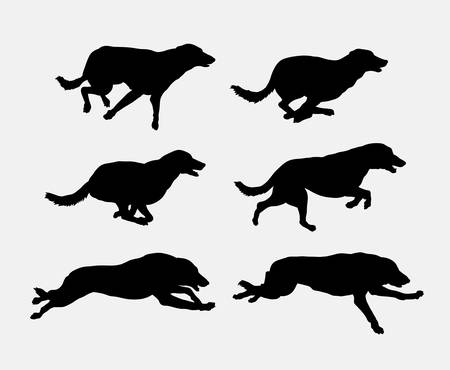 Mascota perro corriendo silueta. Buen uso de símbolo,, icono del Web, mascota, elemento de juego, o cualquier diseño que desee. Foto de archivo - 66631915