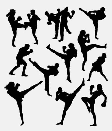 Kick boxing martial art sport training silhouette. good use for symbol,  , web icon, mascot, sign, or any design you want. Easy to use.