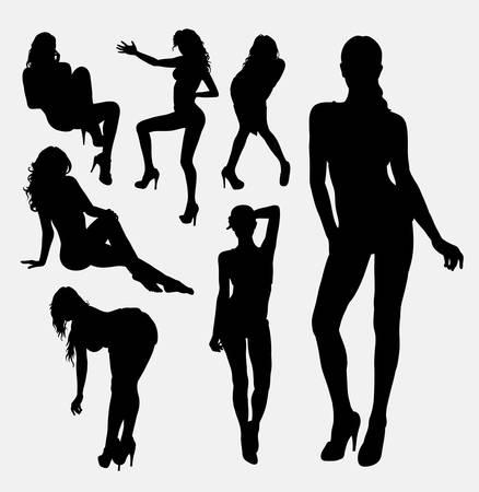 naked woman sitting: Girl, woman, female sexy pose silhouette. Good use for symbol,  , web icon, sticker design, sign, mascot, or any design you want. easy to use. Illustration