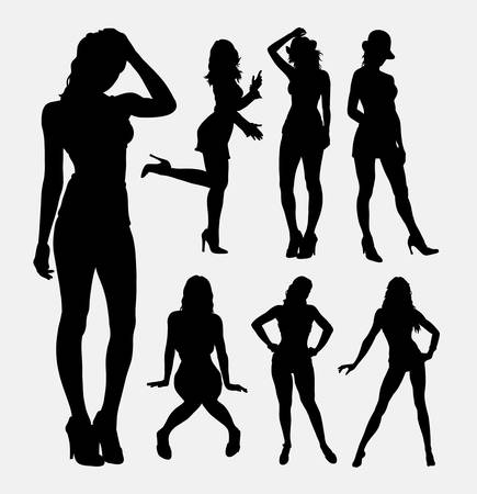 People sexy female activity silhouette. Good use for symbol, web icon,  , sign, sticker design, mascot, or any design you want. Easy to use.