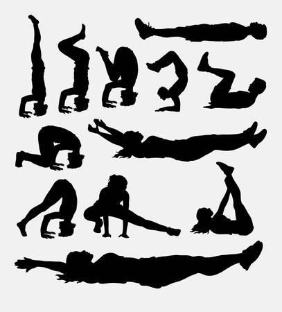 silueta hombre: silueta deporte entrenamiento masculino y femenino. Buen uso de símbolo, icono del Web, diseño de etiqueta, muestra, mascota, o cualquier diseño que desee. Fácil de usar.