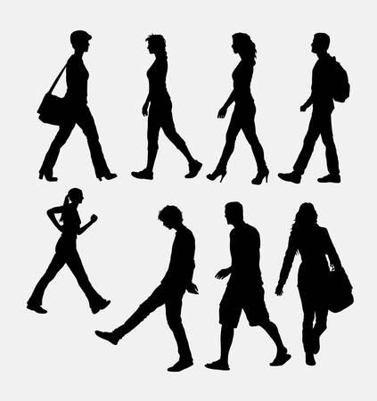 sexo femenino: Las personas de sexo masculino y femenino silueta caminando. Símbolo de la buena utilización enemigo,, icono del Web, diseño de etiqueta, muestra, mascota, o cualquier diseño que desee. Fácil de usar. Vectores