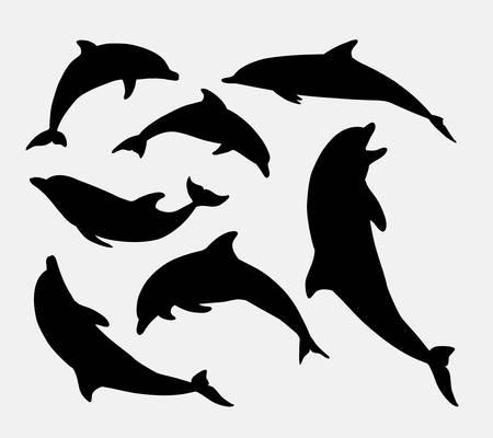 Dolfijn dier silhouet. Goed gebruik voor symbool, mascotte, web icon, sticker ontwerp, teken, of een ontwerp dat u wilt. Makkelijk te gebruiken.