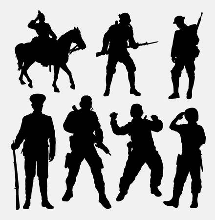security symbol: soldier, military, army, police, and security silhouette. Good use for symbol,  , web icon, mascot, game elements, sticker design, sign, or any design you want. Easy to use. Illustration