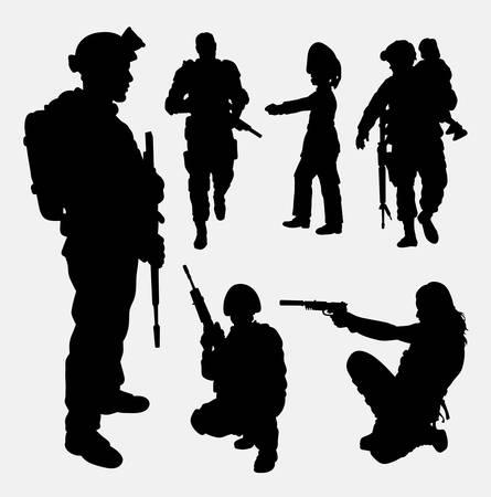 Militair, veiligheid, mannelijk en vrouwelijk silhouet. Goed gebruik voor symbool, web pictogram, mascotte, spelelement, sticker ontwerp, teken, of een ontwerp dat u wilt. Makkelijk te gebruiken. Stock Illustratie