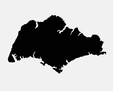 island state: Singapore island map silhouette. good use for symbol, logo, web icon, mascot, sign, sticker, or any design you want. Easy to use. Illustration