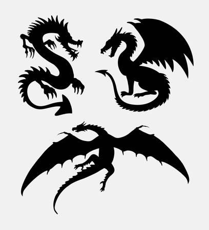 Dragon Fantasy Design Silhouette. guter Gebrauch für Symbol, Zeichen, Logo, Netzikone, Maskottchen, Aufkleberdesign oder irgendein Design, das Sie wünschen.