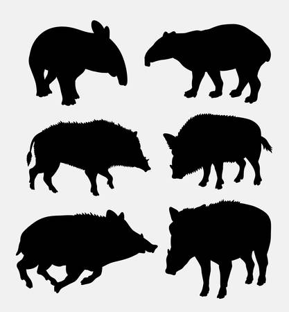 animal silhouette: Tapir and boar wild animal silhouette. Good use for symbol, logo, web icon, mascot, avatar, sticker design, game element, or any design you want. Easy to use or edit.