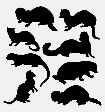mink: Weasel wild animal silhouette. Good use for symbol, logo, web icon, mascot, sticker design, sign, or any design you want. Easy to use.