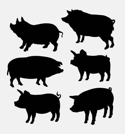 Pig farm mammal animal silhouette. Good use for symbol, logo, web icon, game element, mascot, sign, sticker design, or any design you want.