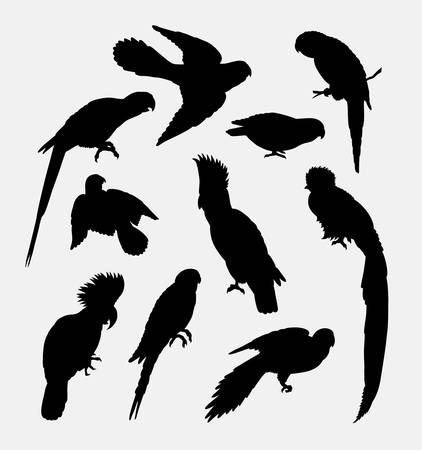 cockatoos: Cockatoos, parrot, bird animal silhouette. Good use for symbol, logo, web icon, mascot, or any design you want.