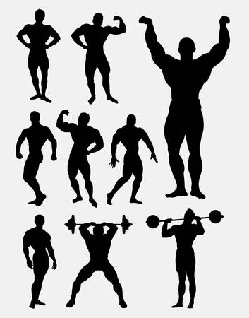 stronger: Body builder and heavy lifter man sport in gymnastic activity. Good use for symbol, logo, web icon, sticker design, sign, or any design you want. Easy to use.