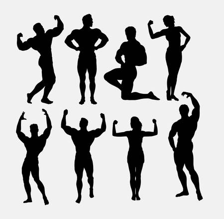 male: Male and female body builder, body beautiful sport silhouette. Good use for symbol, logo, mascot, sticker design, sign, or any design you want. Easy to use.