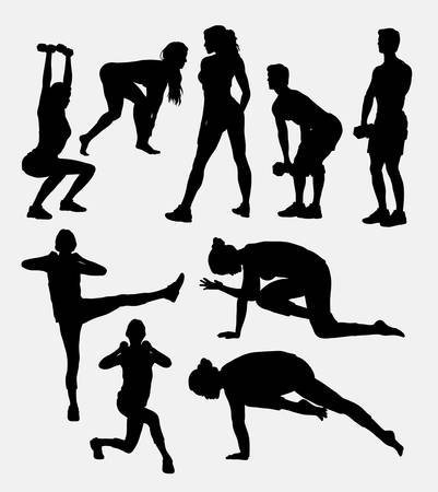 women working out: Male and female pilates sport exercise healthy silhouette. Good use for symbol, web icon, mascot, logo, sticker design, sign, or any design you want. Easy to use.