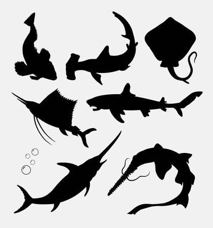 Fish animal, stingray, shark, swordfish silhouette. Good use for symbol, logo, web icon, sticker, mascot or any design you want. Illustration