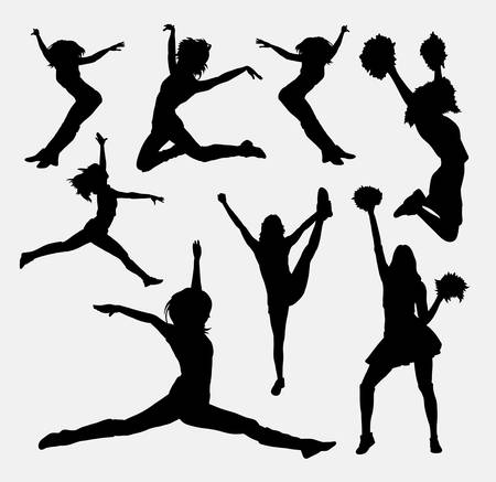 adolescent sexy: Jumping cheerleader silhouette. Good use for symbol, logo, web icon, mascot, sign, or any design you want. Easy to use.