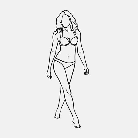 adolescent sexy: Woman using bikini sketch vector. Good use for symbol, logo, web icon, mascot, or any design you want. Illustration