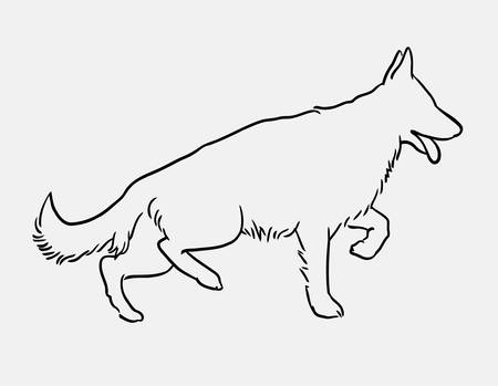 german shepherd pet dog doodle style. Good use for symbol, logo, web icon, mascot, or any design you want. Illustration