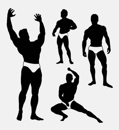 symbol sport: Strong man sport pose silhouette. Good use for symbol, logo, web icon, sticker, mascot, or any design you want. Illustration