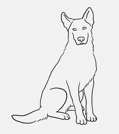 German shepherd sitting pet dog doodle style. Good use for symbol, logo, web icon, mascot, sign, or any design you want. Illustration