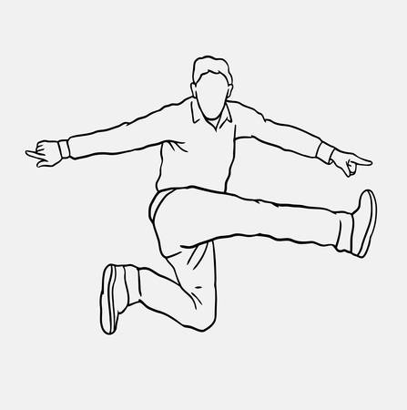 spontaneously: Man jumping sketch vector. Male activity drawing. Good use for symbol, logo, web icon, mascot, or any design you want.