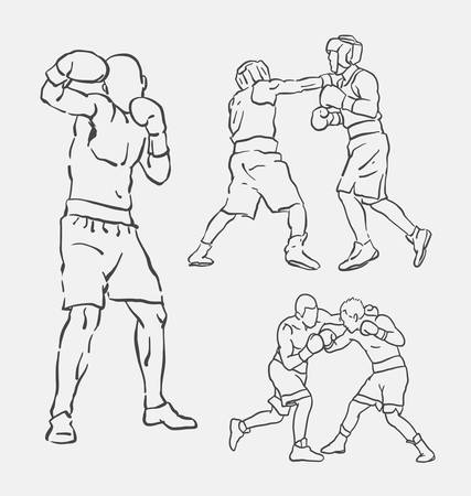 spontaneous: Boxing male extreme sport sketch. Good use for symbol, logo, web icon, mascot, decoration element, object, sign, or any design you want.