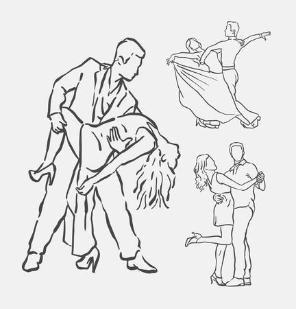 duet: Couple dancing hand drawn. Good use for symbol, logo, web icon, mascot, decoration element, object, sign, or any design you want. Illustration