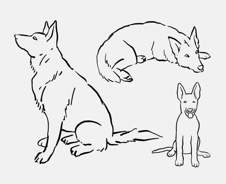 German shepherd pet dog animal drawing. Good use for symbol, logo, web icon, mascot, tattoo, sign, or any design you want.