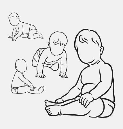 spontaneous: Baby activity hand drawing. good use for symbol, logo, web icon, mascot, sticker, sign, or any design you want.