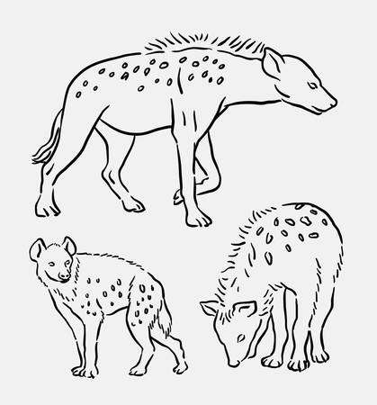 female animal: Hyena wild animal hand drawing. Good use for symbol, logo, web icon, mascot, sign, or any design you want. Illustration