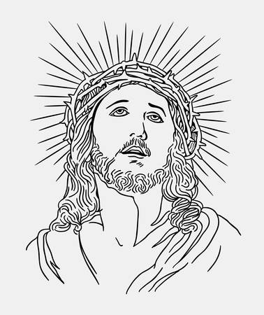 beard man: Jesus christianity religion line art drawing style, good use for symbol, logo, web icon, mascot, sign, sticker, or any design you want. Illustration