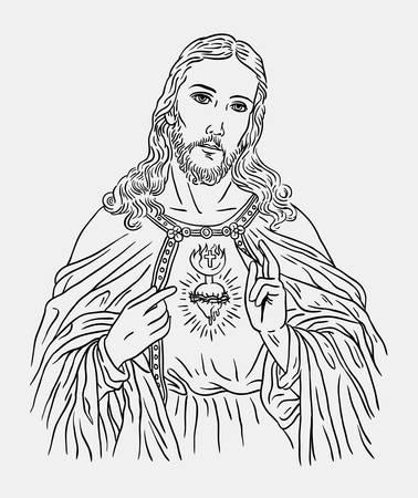 예수 그리스도 가톨릭 종교 예술 라인 그리기 스타일. 기호, 로고, 웹 아이콘, 마스코트, 스티커, 기호 또는 원하는 디자인에 적합합니다.