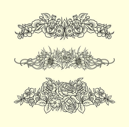 decoration style: Flowers and leaves ornament decoration line art drawing style. Good use for symbol, decoration element, sign, sticker or any design you want.