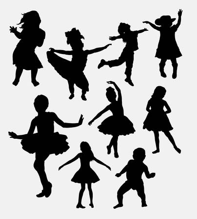 Kid or children happy action silhouette. Good use for symbol, logo, web icon, mascot, sticker, or any design you want.