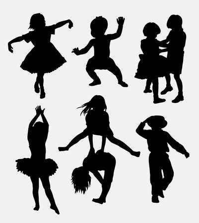 Kid playing activity silhouette. Good use for symbol, logo, web icon, mascot, sticker, or any design you want. Easy to use.