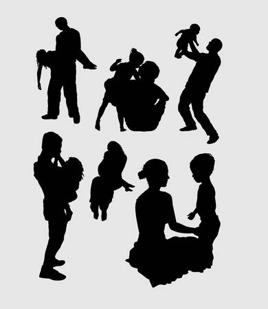 family playing: Family playing happiness silhouette. Good use for symbol, logo, web icon, mascot, sign, sticker, or any design you want. Illustration