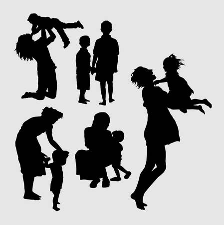 family playing: Happy family playing silhouette. Good use for symbol, logo, web icon, mascot, sign, sticker, or any design you want.