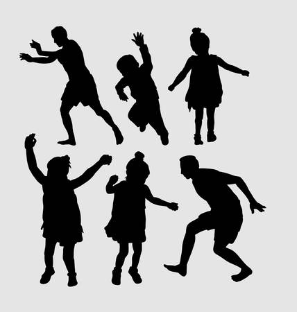 symbol people: People happy playing silhouette. Good use for symbol, logo, web icon, mascot, sign, sticker, or any design you want.