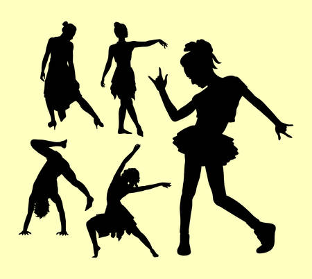 simbolo de la mujer: dancing pose man and women silhouette. Good use for symbol, logo, web icon, mascot, sign, sticker, or any design you want.