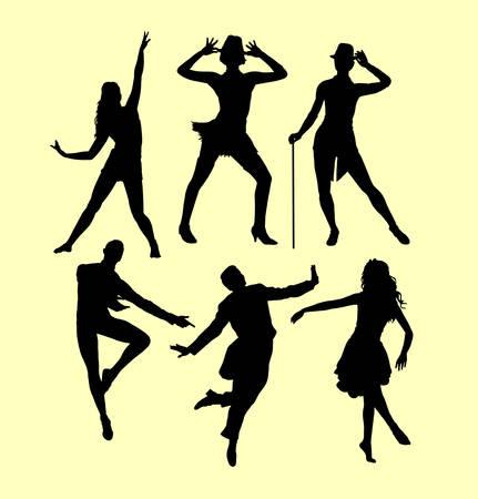 Homme et femme dansant la silhouette. bon usage pour le symbole, le logo, l'icône de Web, la mascotte, le signe, l'autocollant, ou n'importe quelle conception que vous voulez. Banque d'images - 75795762