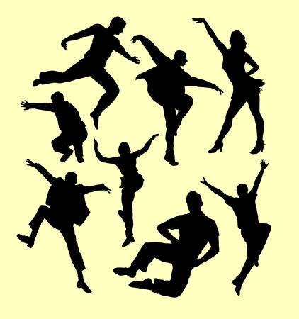 simbolo de la mujer: Tap dance man and women silhouette. Good use for symbol, logo, web icon, mascot, sign, sticker, or any design you want. Vectores