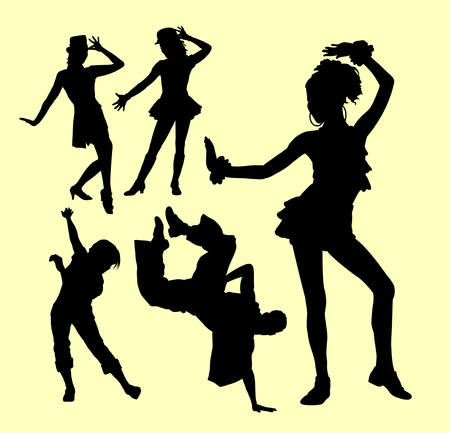 tänzerinnen: Attraction dancing male and female show silhouette. Good use for symbol, logo, web icon, mascot, sticker, or any design you want.