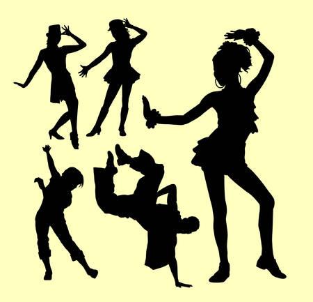 danseuse: Attraction danse masculine et féminine silhouette de spectacle. Bon usage pour symbole, logo, icône web, mascotte, autocollant ou tout design que vous souhaitez. Illustration