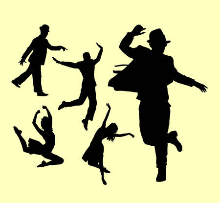 Dancer male and female action silhouette. Good use for symbol, logo, web icon, mascot, or any design you want.