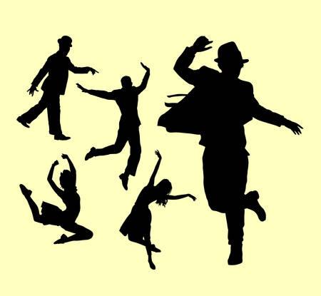 tänzerin: Tänzer männliche und weibliche Aktion Silhouette. Gute Verwendung für Symbol, Logo, Web-Symbol, Maskottchen oder jedes gewünschten Design.