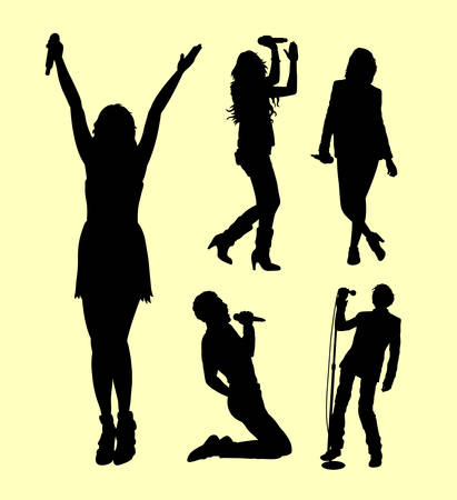 Singer male and female action silhouette. good use for symbol, logo, web icon, mascot, sign, sticker, or any design you want. Illustration