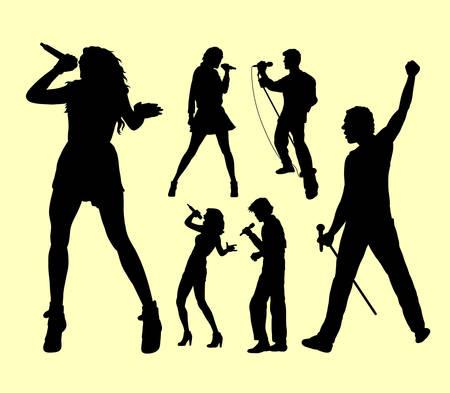 Chanter une chanson. Chanteur masculin et féminin. Bon usage pour le symbole, le logo, l'icône de Web, la mascotte, le signe, l'autocollant, ou n'importe quelle conception que vous voulez. Banque d'images - 75795770