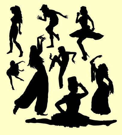 action girl: Dancing action girl movement silhouette. Good use for symbol, logo, web icon, mascot, sign, sticker, or any design you want