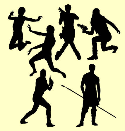people in action: People action silhouette. Good use for symbol, logo, web icon, mascot, sign, sticker, or any design you want Illustration